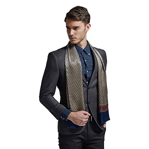 Foulard en Soie pour Homme SWEETBB Écharpe 100% Soie Élégant Classique Chic avec Motif Printemps Automne Hiver bleu+rouge