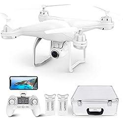 Potensic Drone GPS T25 FPV Hélicoptère Caméra 120° Grand Angle Réglable HD 1080P Télécommande 9-axe Gyro Fonction ( Deux Batterie+Valise de Transport)