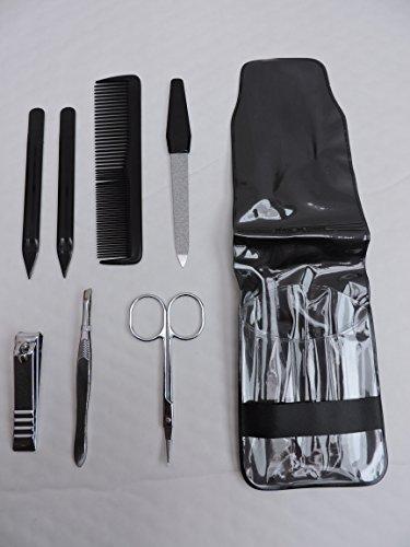Set de manucure avec 7 articles dans leur étui Lot de pinces à ongles de voyage, ciseaux, pince à épiler, peigne.