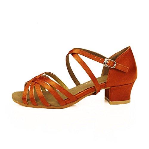 WXMDDN Latin Dance Schuhe Schokolade Tanz Schuhe Mädchen IM Weichen Boden Übung und Tanzschuhe und Kinderschuhe und Tanzaufführungen,E 29. (Sohle Schokolade)