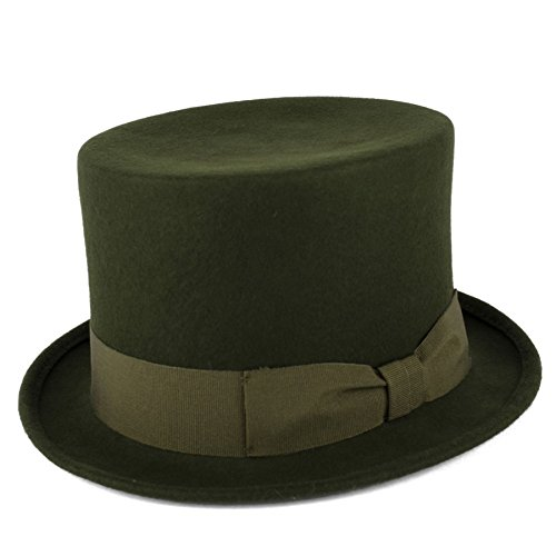 Handmade In Italy 100% Wool Top Hat With Bow Style Grosgrain Band - Olive Green - Olive (Hut Herd)