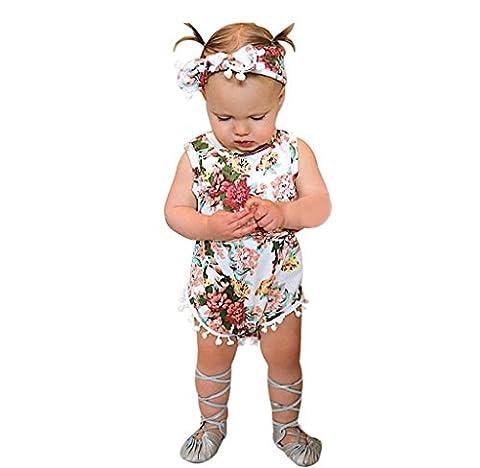 Baby-Girl Jumpsuit Sunsuit Set,Malloom Newborn Toddler Baby Girls Floral Bodysuit Jumpsuit Romper + Headband (0-6Month 70CM,