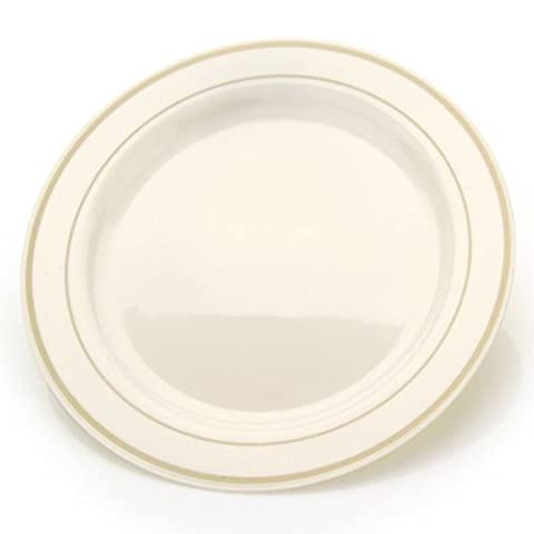 10.25'' China Like Plastic Plates Ivory With Gold Rim 10CT