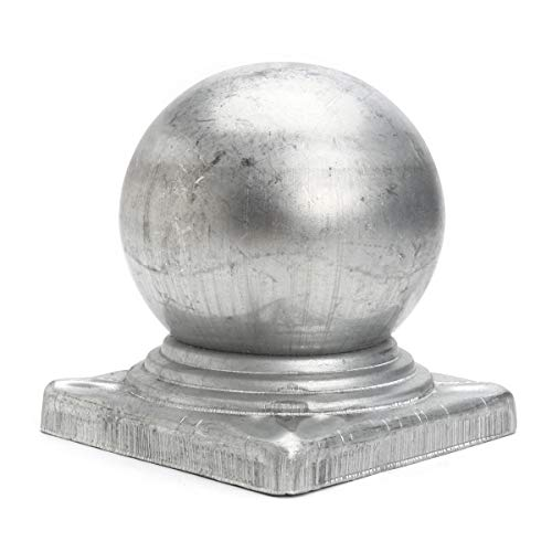 100mm Iron Ball Top Fence Finial Post Cap with Flat Square Base Decor Protection - Square Base Post