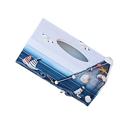 MagiDeal Maritime Holz Deko Kosmetiktücherbox Segelboot Leuchtturm Möwe Shell (Cover Box Tissue Strand)