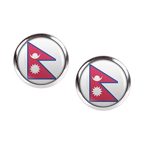 Mylery Ohrstecker Paar mit Motiv Nepal Kathmandu Flagge silber 12mm