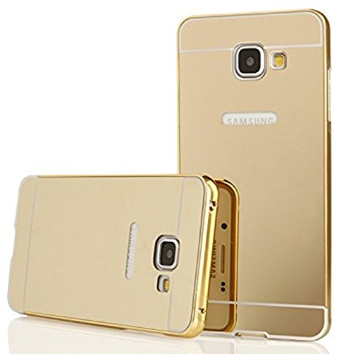 WOW Imagine™ Premium Luxury Mirror Acrylic back + Metal Bumper Case Cover For Samsung Galaxy Smartphone J7 Prime, SM-G610F - Gold