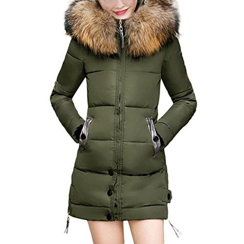 Elecenty Damen Winterjacke,Wintermantel Lange Daunenjacke Parka Jacke Outwear Frauen Winter Warm Daunenmantel Steppjacke Mantel Oberbekleidung Trenchcoat mit Abnehmbarer Pelzkragen