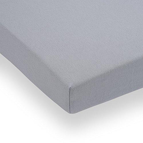 Doppelpack FabiMax 3676 Jersey Spannbettlaken für Laufgitter 100x100 cm, grau