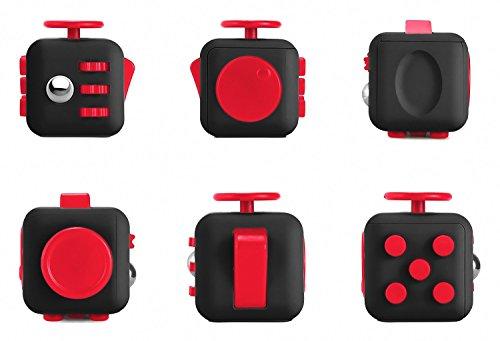 Zindoo Fidget Cube con 6 funzioni Dadi di Stress Agitarsi Cube Allevia lo Stress e l'ansia Giocattoli Articoli da regalo Per Bambini e Adulti (Nero/ Rosso)