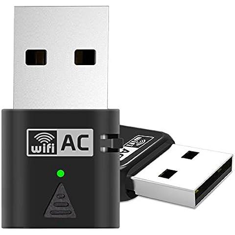adaptador de red USB, Amotus AC600 de banda dual a 600 Mbps Wireless Adaptador de CA 802.11 Nano Dongle Wifi para Windows Vista / 7/8 / 8.1 / 10 / Linux / MAC OS X 10.7 a 10.1