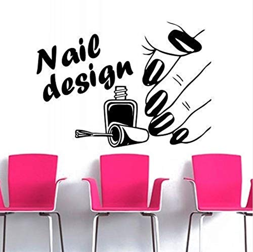 Lvabc Nageldesign Schönheit Salon Serie Wandaufkleber Frau Hand Mit Nagel Muster Kunst Wandmalereien Decor Wandaufkleber Für Gilr Kunstwand 42X56 Cm