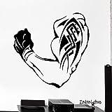 zhuzhuwen Bébé Crèche Stickers Muraux Cornerbodybuilding S Fitness Gym Muscle Tattoo Wall Bedle Mur De La Chambre des Enfants Papier Peint 42X42Cm