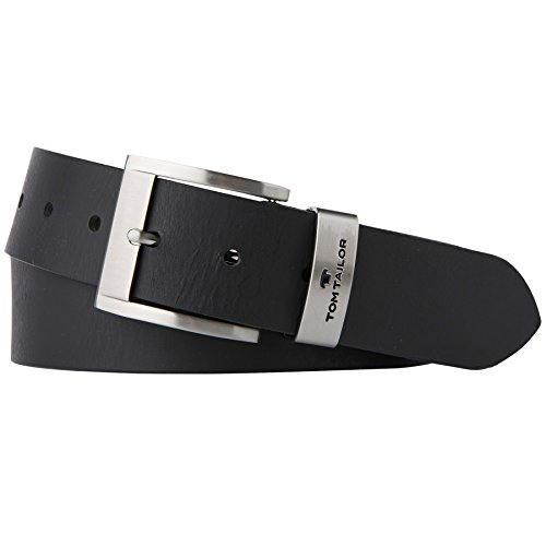TOM TAILOR für Männer Gürtel & Riemen Leder-Gürtel mit Metall-Schlaufe black, 115