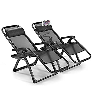 1INCHHOME Extra Large Zero Gravity Chair Set of 2 - Black