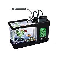 Usb Mini Fish Tank Desktop Electronic Aquarium Fish Tank With Water Running Led Pump Light Calendar Clock Black