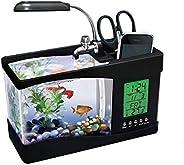 حوض سمك صغير الكتروني يعمل من خلال USB مع مضخة ماء وضوء LED مضيئ بساعة سوداء