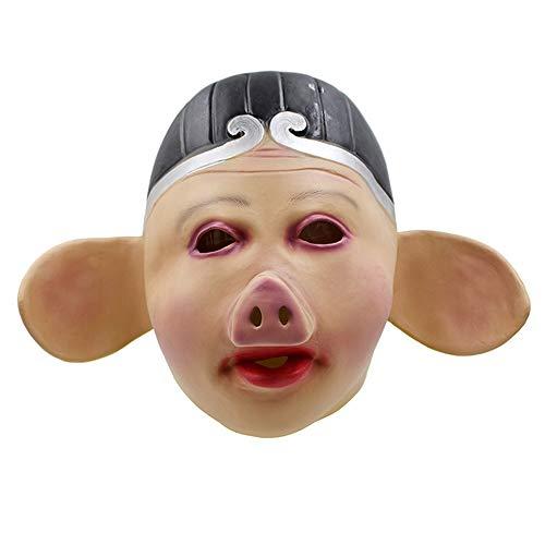 Schwein Beängstigend Kostüm - FZTX-ZJJ Halloween Maske Schwein Acht Reise Westwärts Reise Performance Maske Cosplay Lustige Kopfbedeckung Schwein Kopf Kleidung Latex Maske,A