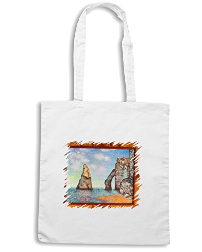 T-Shirtshock - Borsa Shopping TDA0032 monet198 il dente d etretat Bianco