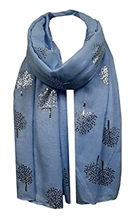 World of Shawls Silver Foil Mulberry Tree Print Fashion Scarf (Baby Blue)