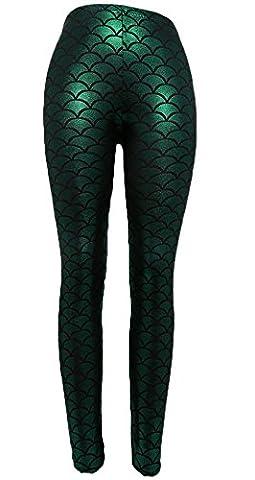 Hengsong Femmes Pantalons Slim Crayon Taille Haute Échelles de Sirène Mince Stretch Leggings