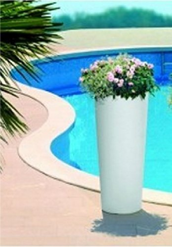 Vaso Tondo moderno liscio alto Ø31 x h 70 cm in resina cache-pot colore bianco