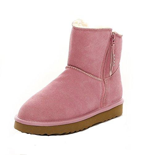 LOCO GERMANY SKUTARI - Wildleder Damen Frauen Winter-Boots | Extra Weich & Warm Gefüttert | Schlupf-Stiefel mit Stabiler Sohle | Pailletten Glitzer Meliert Zipper (Wildleder Leder Boot)