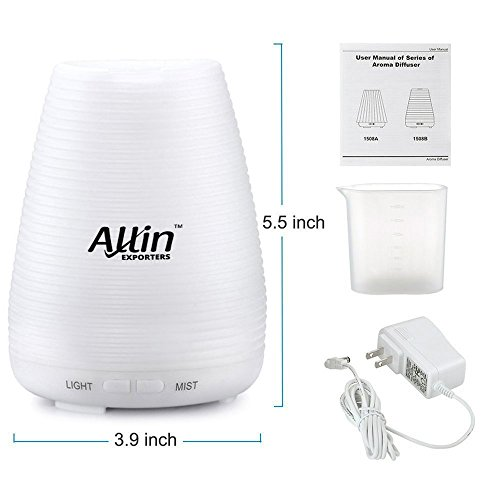 Allin Exporters Ultrasonic Diffuser Humidifier with LED Lights, 100ml