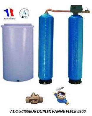 Adoucisseur d'eau duplex 2x100L fleck 9500