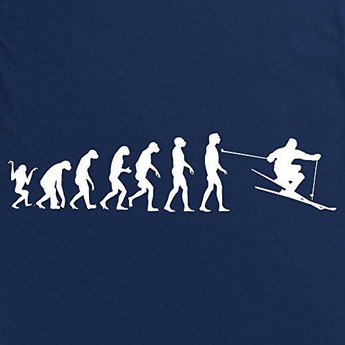 Evolution of Skiing Langarmshirt Funny Novelty Gift, Herren Dunkelblau