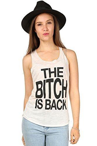 Damen Freizeit Schlampe is Back Slogan ärmellos U-ausschnitt Gym Sommer Tank-rand Trikot Weste T-Shirt Top Übergrößen - Schlampe is Back Creme, Plus Size (UK 16/18) (Damen-tank-top Schlampe)