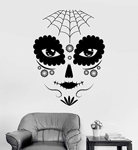 ONETOTOP Neue Ankunft Vinyl Wandtattoo Tag der Toten Gothic Girl Maske Aufkleber Removable Wandaufkleber Wohnkultur Wohnzimmer 42 * 56 cm (Der Toten-kleiderschrank Tag)