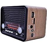 راديو كلاسيكي خشبي مع بلوتوث مدمج ويعمل ايضا على كروت الذاكره وبطاريه يعاد شحنها