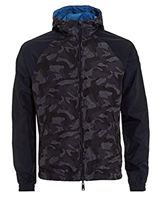 Armani Jeans Men's Reversible Hooded Camo Jacket Blue