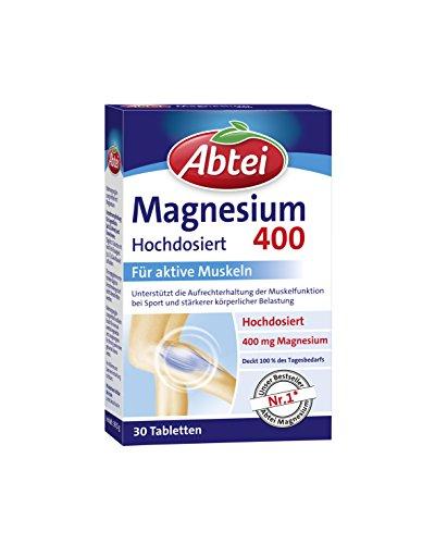Abtei Magnesium 400 - Magnesiumtabletten hochdosiert, Tabletten zur Aktivierung und Aufrechterhaltung der Muskelfunktionen, vegan - 30 Tabletten