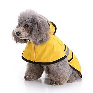 Gaddrt Pet Dog Hooded Raincoat, Waterproof Puppy Dog Outdoor Jacket Coat for Small Medium Large Dog (L, Yellow)
