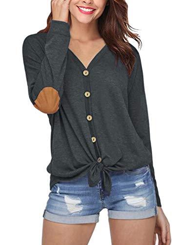 Camiseta de Manga Larga Cuello V Parche en el Codo con Botones para Mujer Suelta Blusas de Túnica(Grey,M)