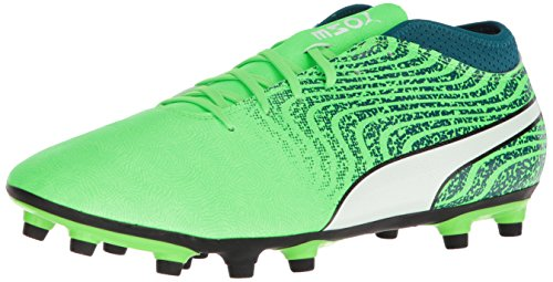 Puma-Mens-One-184-FG-Soccer-Shoe-Green-Gecko-White-Deep-Lagoon-8-M-US