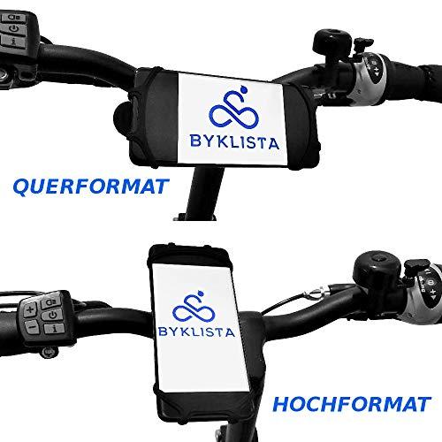 BYKLISTA® Handyhalterung Fahrrad + Gratis eBook - Handyhalter Fahrrad Gadget Handy Halterung Fahrradlenker flexibel aus Silikon für 4-6 Zoll - Smartphone Halterung Fahrrad rutschfest & sicher