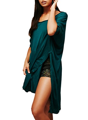ACHICGIRL Women's Batwing Sleeve Side Slit Loose Solid Tee green