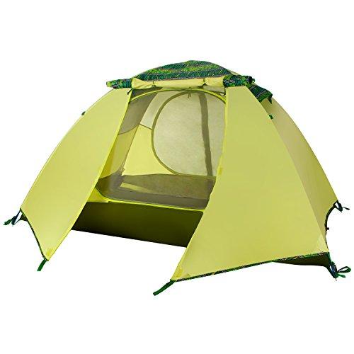 WolfWise 2 Person Trekkingzelt Campingzelt Ultraleicht Zelt mit Tragtasche LED Licht für Camping Wandern Wasserdicht Grün