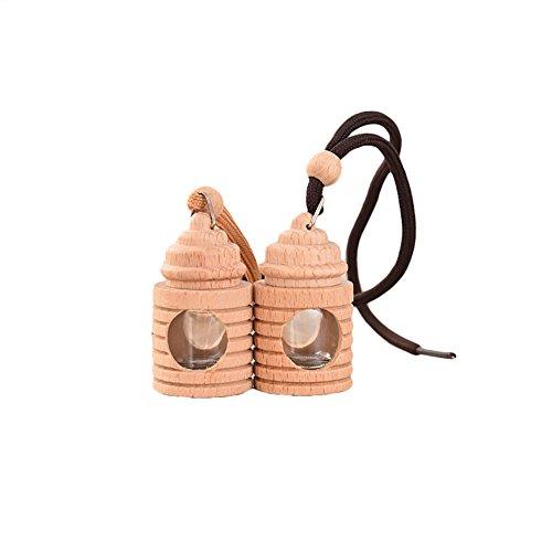 Lovely auto deodorante profumo bottiglia vuota di legno vetro decorazione da appendere-colore casuale Rycnet
