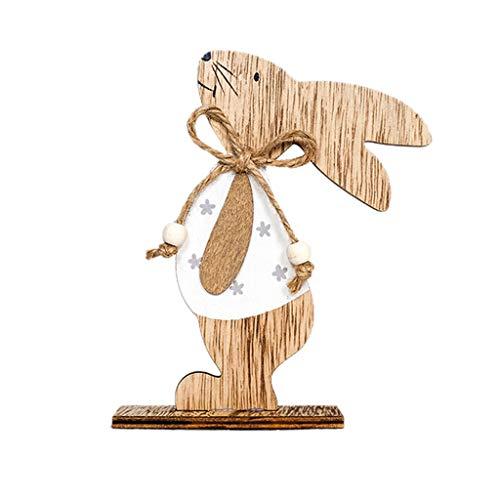 YUHUISTART Frohe Ostern Dekor Ostern Dekorationen schöne stehende Holz Kaninchen Formen Ornamente Handwerk Geschenke(B)
