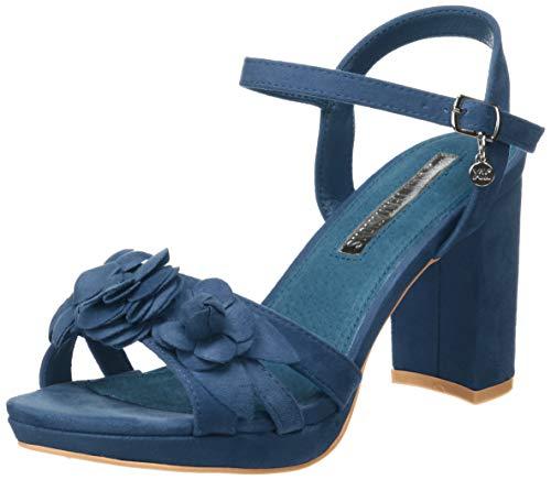 XTI 35044, Scarpe col Tacco con Cinturino Dietro la Caviglia Donna, Blu Navy, 38 EU