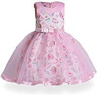 FXFAN Vestidos de Las Muchachas Niños Volantes de Encaje Vestidos de Novia ZHANGM (Color : Rosado, Tamaño : 130)