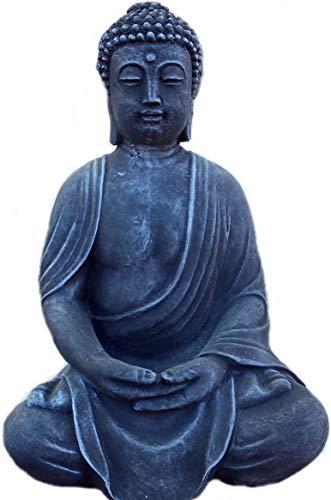 Steinfigur Gartenfigur massiver Buddha Shiva Feng-Shui schwarz/Patiniert Dekoration