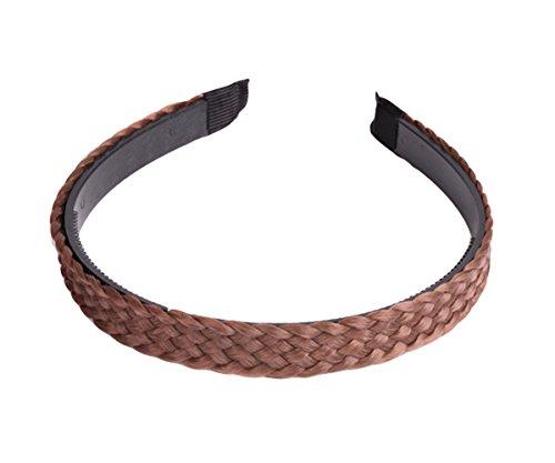 Trayosin Elegant Haarreifen mit geflochtenem Zopf Geflochten Braun Schwarz Stirnband Perücke Damen (1.5cm#, Braun)