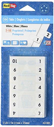Redi-Tag Vorgedruckte Registerreiter, permanent klebend, 7/16 x 2,5 cm, 104 Taben pro Packung, weiß mit schwarzem Aufdruck (31001)