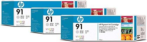 HP 91 3er-Pack Hellgrau Tintenpatronen, 775 ml