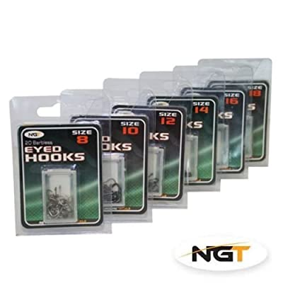 120 Barbless Eyed Hooks size 8,10,12,14,16,18 carp/coarse fishing from ngt